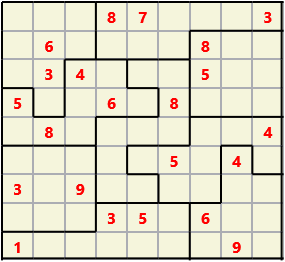Jigsaw L(2,4) D(22,13,1,1,1,0) V Difficult As regular 9 by 9 but the normal 3X3 boxes are irregular shapes