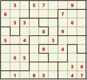 Jigsaw L(2,4) D(25,13,1,1,1,0) V Difficult As regular 9 by 9 but the normal 3X3 boxes are irregular shapes