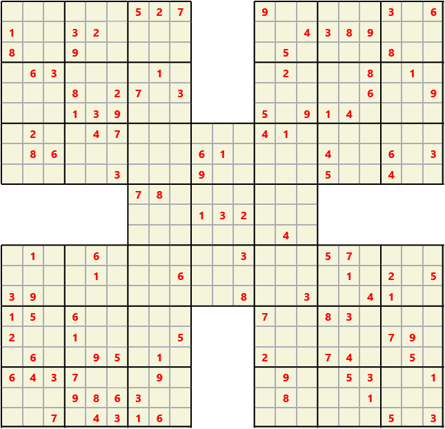 Samurai L(2,1) D(115,13,0,0,0,0) Moderate Effectively 5 intersecting 9 by 9 Sudoku problems which must all be solved at the same time. Usually not particularly difficult problems but time consuming
