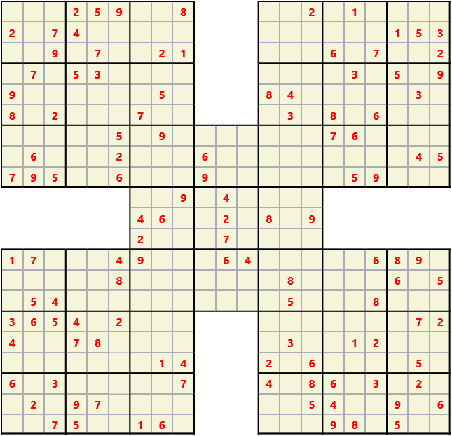 Samurai L(2,1) D(118,17,0,0,0,0) Moderate Effectively 5 intersecting 9 by 9 Sudoku problems which must all be solved at the same time. Usually not particularly difficult problems but time consuming