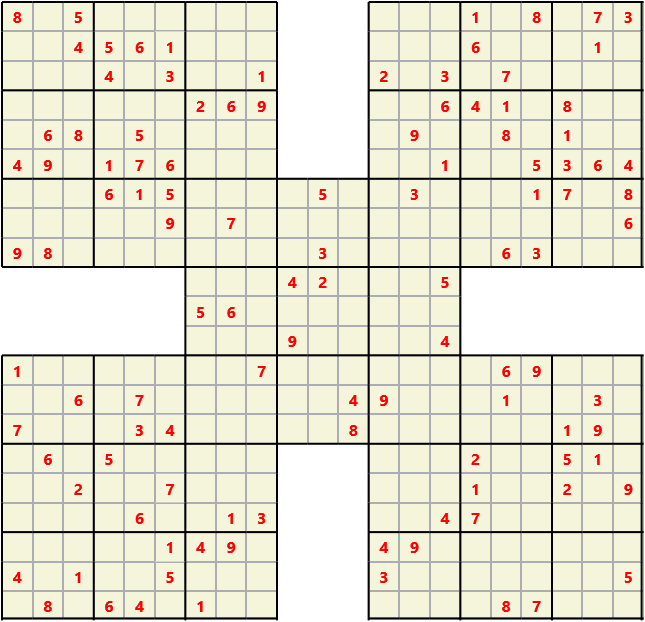Samurai L(2,2) D(111,28,2,0,0,0) Moderate Effectively 5 intersecting 9 by 9 Sudoku problems which must all be solved at the same time. Usually not particularly difficult problems but time consuming