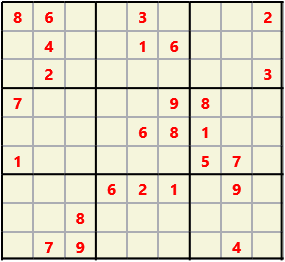Sudoku 9X9 L(1,1) D(26,16,0,0,0,0) Easy This is the standard geometry that is usually seen. Characters must not repeat in rows or columns or in any of the 3 by 3 boxes that are outlined.