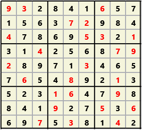 Sudoku 9X9 L(1,1) D(26,5,0,0,0,0) 2013-04-18 174504 Solution