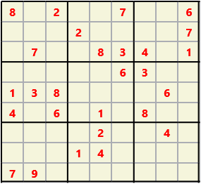 Sudoku 9X9 L(1,1) D(27,6,0,0,0,0) Easy This is the standard geometry that is usually seen. Characters must not repeat in rows or columns or in any of the 3 by 3 boxes that are outlined.