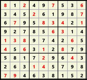Sudoku 9X9 L(1,1) D(27,6,0,0,0,0) 2013-04-18 174459 Solution