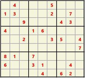 Sudoku 9X9 L(1,1) D(27,7,0,0,0,0) Easy This is the standard geometry that is usually seen. Characters must not repeat in rows or columns or in any of the 3 by 3 boxes that are outlined.