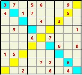 Sudoku 9X9X L(1,1) D(25,6,0,0,0,0) Easy As regular 9 by 9 but must also have unique characters in each diagonal, highlighted.