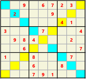 Sudoku 9X9X L(1,1) D(26,6,0,0,0,0) Easy As regular 9 by 9 but must also have unique characters in each diagonal, highlighted.