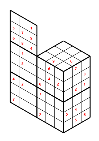 Tred 02 L(2,1) D(28,8,0,0,0,0) Moderate Tredoku 3 dimensional problem 02 with 8 faces, 6 rows and 9 columns