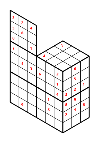Tred 02 L(2,1) D(29,5,0,0,0,0) Moderate Tredoku 3 dimensional problem 02 with 8 faces, 6 rows and 9 columns
